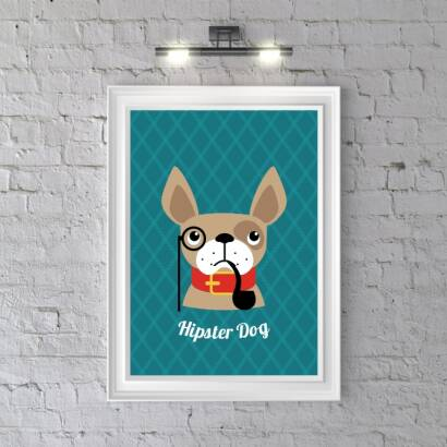 Plakat Hipster Dog (dark blue)