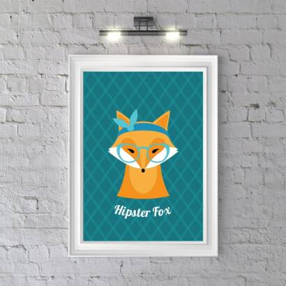 Plakat Hipster Fox (dark blue)