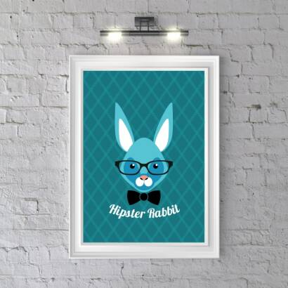 Plakat Hipster Rabbit (dark blue)