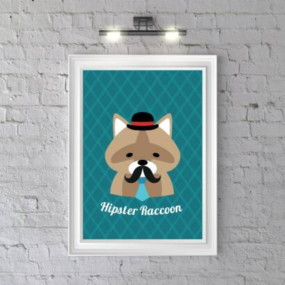 Plakat Hipster Raccoon (dark blue)