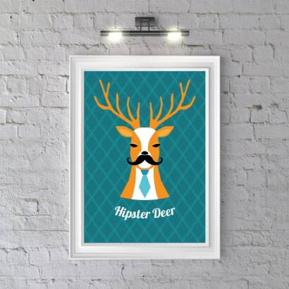 Plakat Hipster Deer (dark blue)
