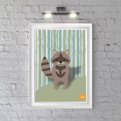 Plakat Forest Animals Raccoon