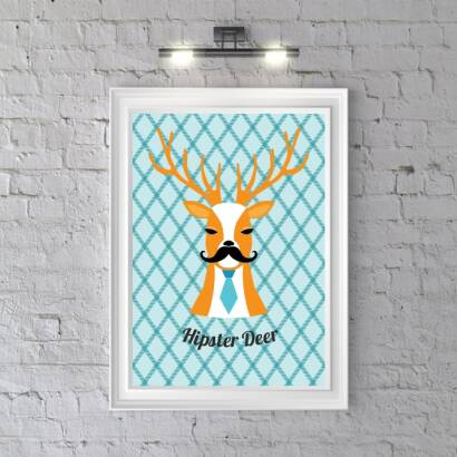 Plakat Hipster Deer (bright blue)