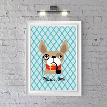 Plakat Hipster Dog (bright blue)