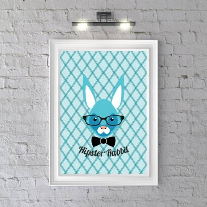Plakat Hipster Rabbit (bright blue)
