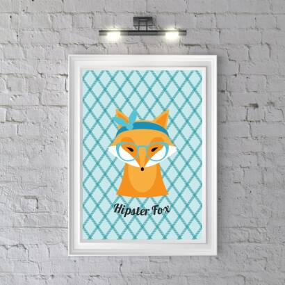 Plakat Hipster Fox (bright blue)